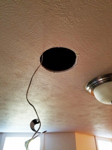 Ceiling Speaker Cable Drop and drywall cut out